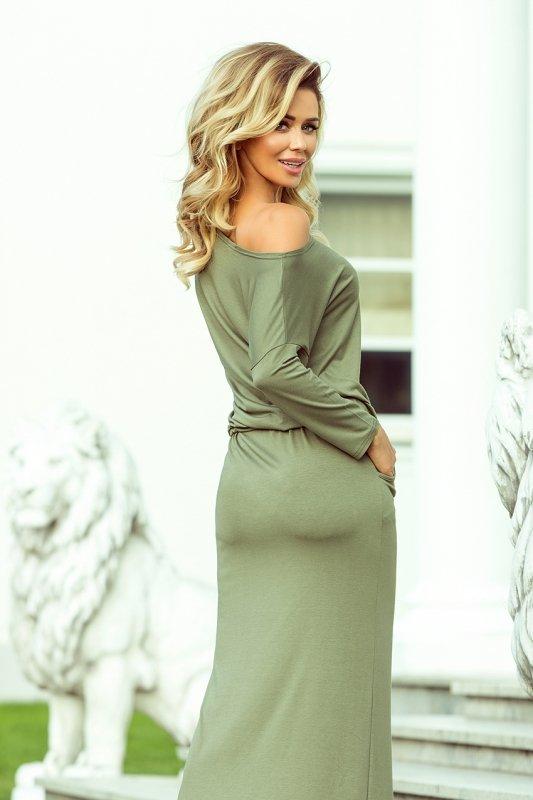 Maxi sukienka sportowa z rozcięciem - kolor oliwkowy - numoco 220-1