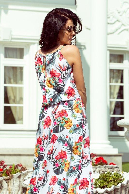 Sukienka MAXI wiązana na szyi z rozcięciem - KWIATY NA BIAŁYM TLE - numoco 191-4