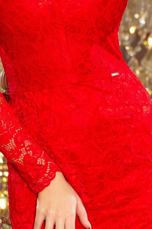 Sukienka koronkowa z długim rękawkiem i Dekoltem - Czerwona - numoco 170-6
