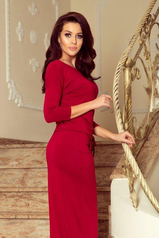 MAXI sukienka sportowa z rozcięciem - Bordowa- numoco - 220-3