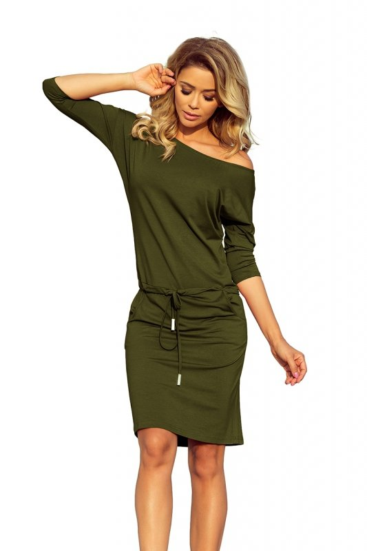 Sukienka sportowa z kieszonkami - wiskoza Khaki - numoco 13-104