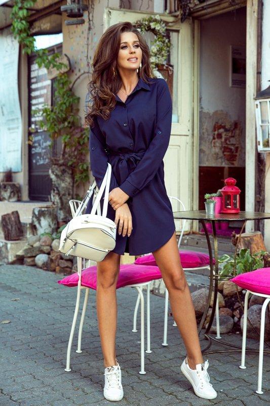 Koszulowa sukienka z guzikami - Granat - numoco 288-1