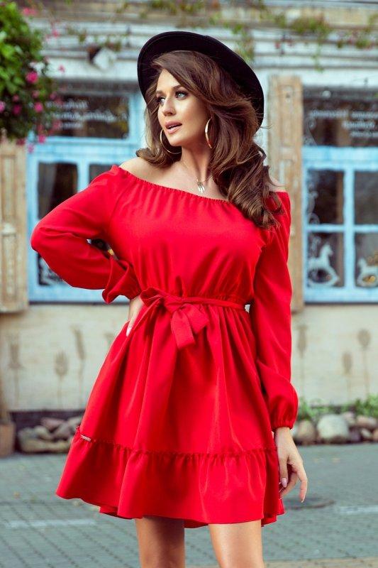 Sukienka z falbankami Daisy - Czerwona - numoco 265-4