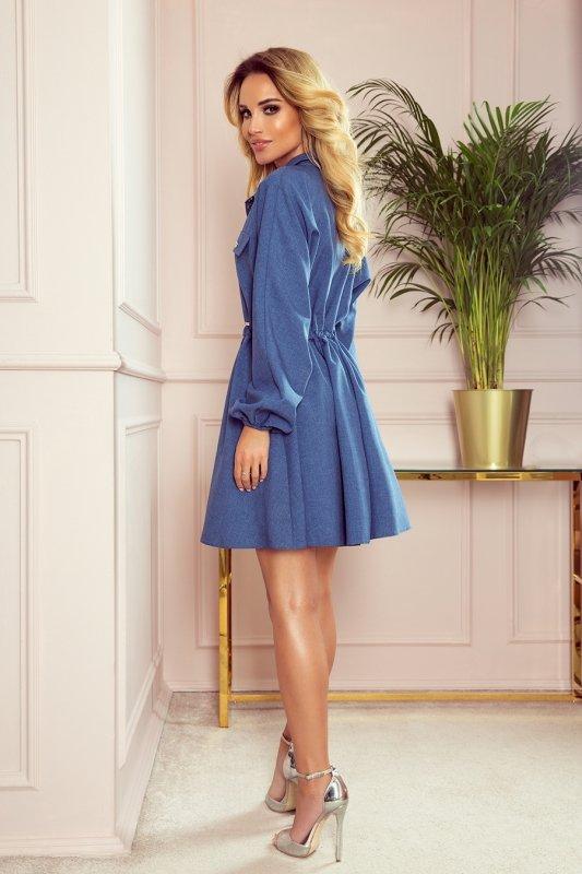 Koszulowa sukienka z guzikami i długim rękawkiem  Clara - niebieska - StreetStyle 298-2