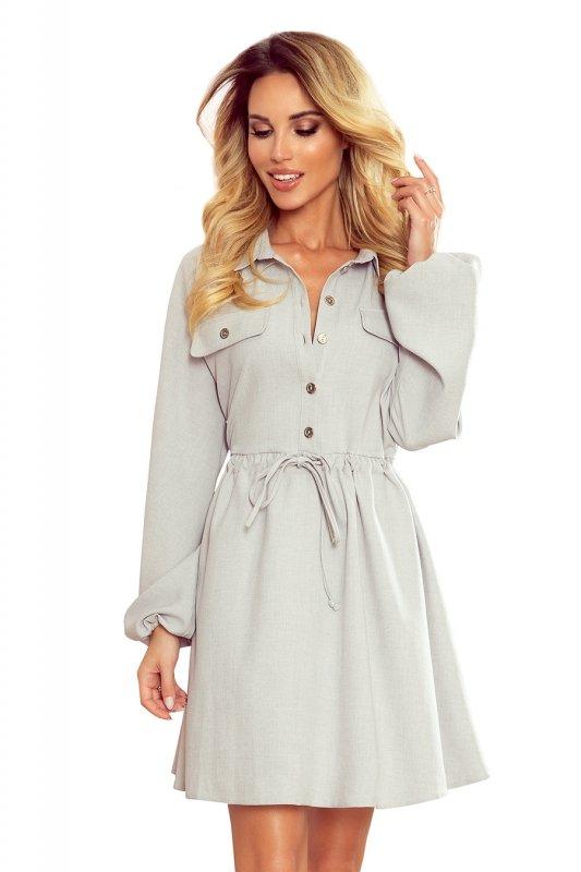 Koszulowa sukienka z guzikami i długim rękawkiem  Clara - szara - StreetStyle 298-1