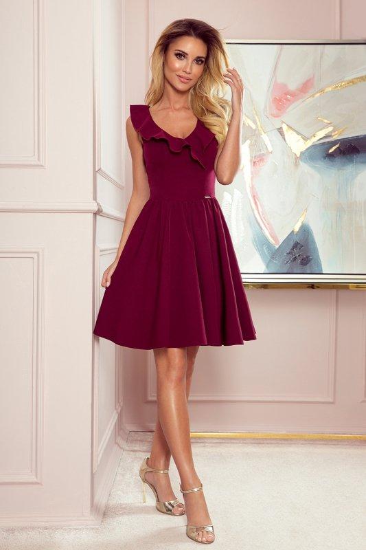 Sukienka z falbankami na dekolcie Pola- Bordowa - StreetStyle 307-3