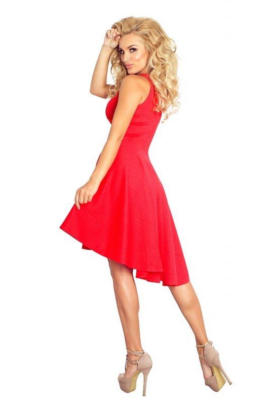 Ekskluzywna sukienka z dłuższym tyłem - Czerwona - numoco 66-12