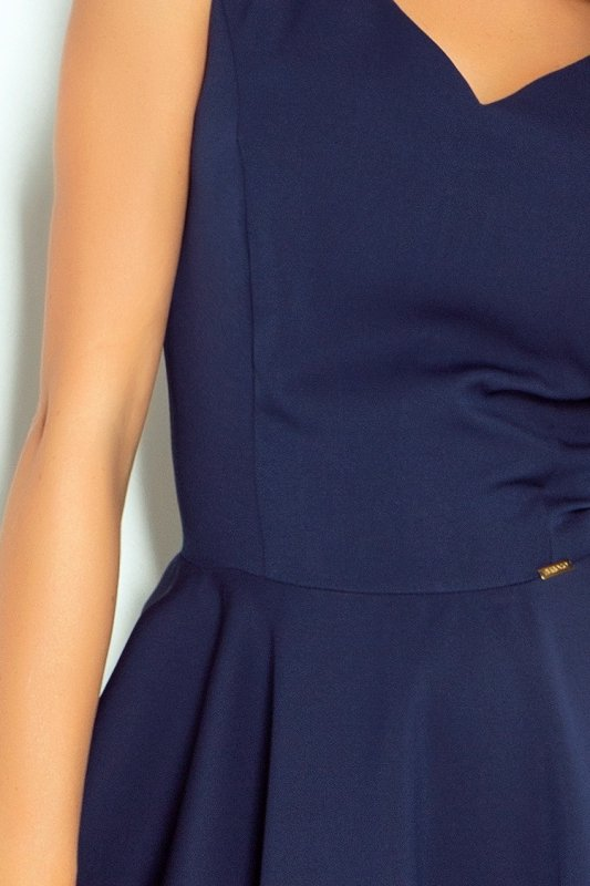 Sukienka z koła - dekolt w kształcie serca - Granat - numoco 114-7