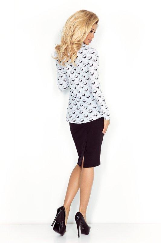 Koszula z kieszonkami w czarne koty - Biała - numoco MM 018-5
