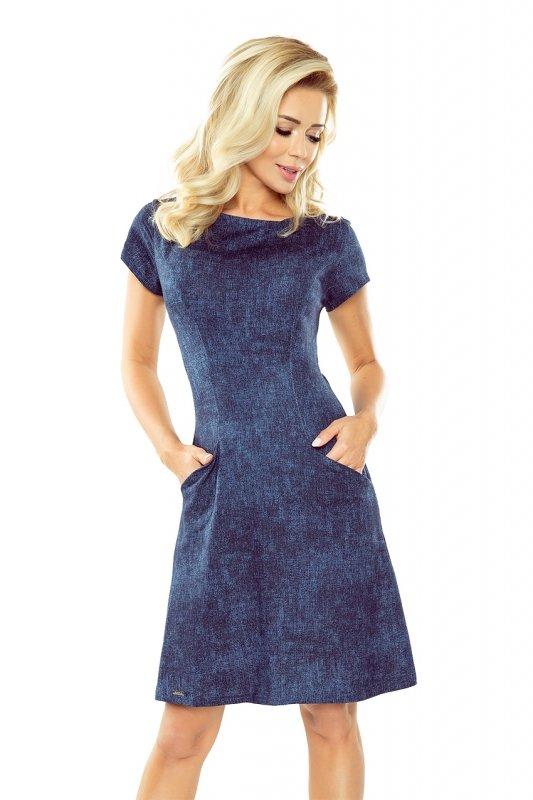 Sukienka Trapezowa  z kieszonkami - Jeans Ciemny Granat - numoco 155-2