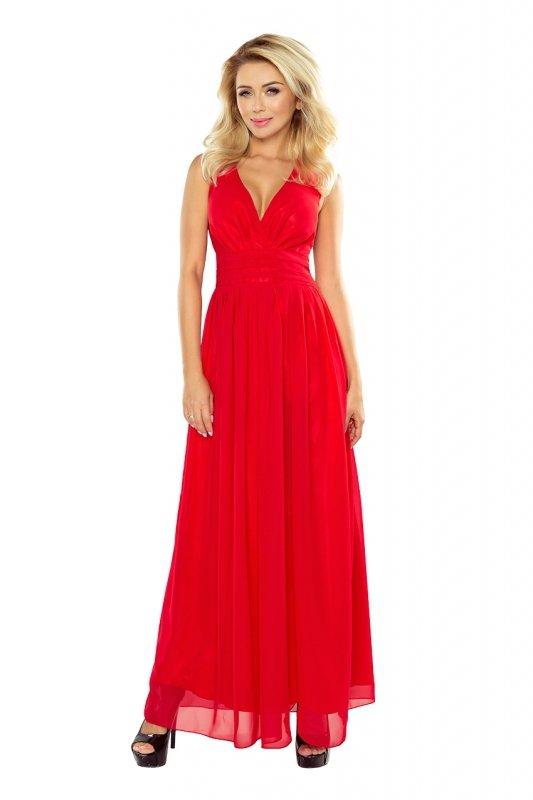 166-2 MAXI szyfonowa sukienka z rozcięciem - CZERWONA