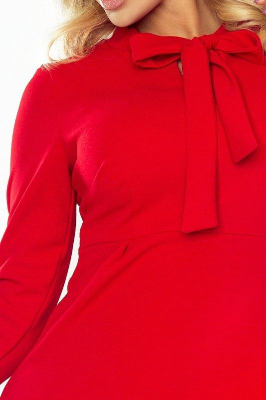 Sukienka trapezowa z wiązaniem pod szyją Ola- Czerwona - numoco 158-2