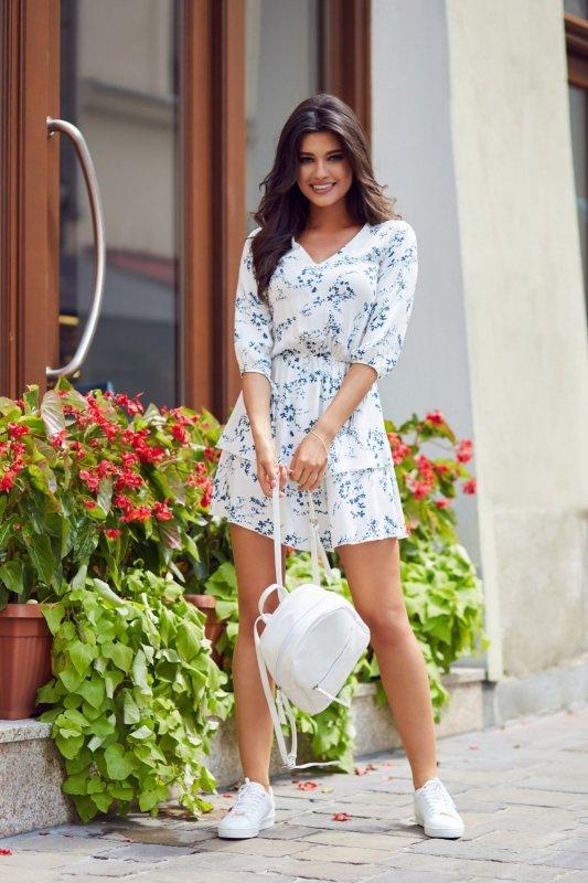 Sukienka w kwiaty Sara - Biała - StreetStyle 661