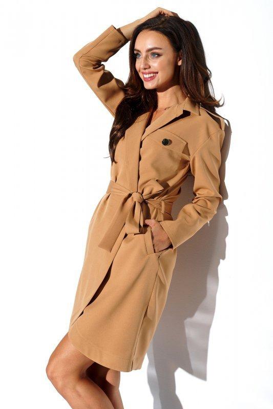 Kopertowa sukienka z kieszonkami i wiązaniem w pasie -StreetStyle L323