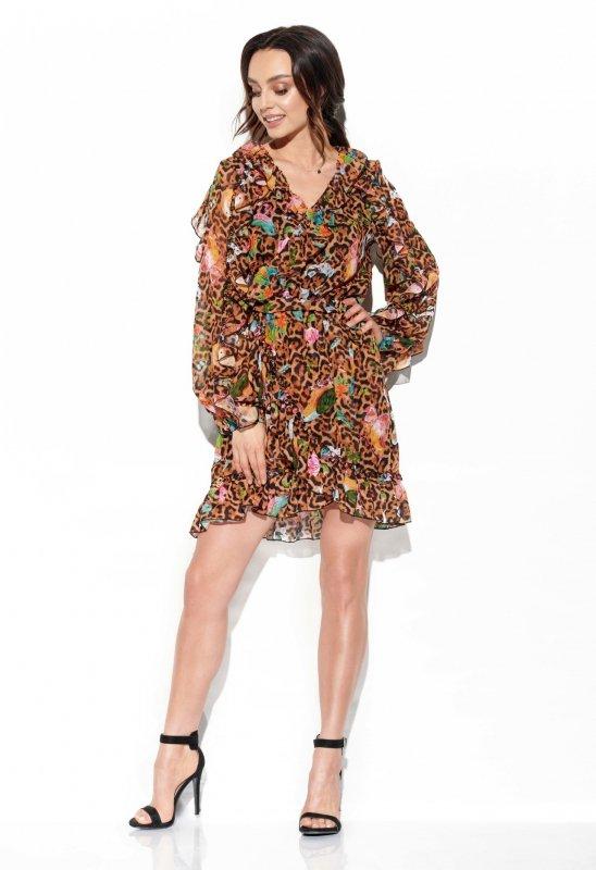 Szyfonowa sukienka z jedwabiem i falbankami wzór - StreetStyle LG517- druk 13