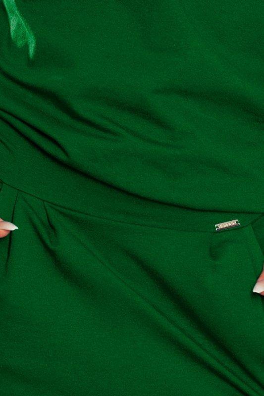 Sukienka dresowa z dekoltem na plecach - Zieleń Butelkowa