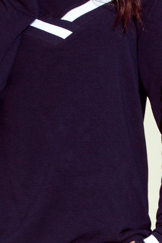 223-1 Wygodna bluza z odkrytymi ramionami i ściągaczem - GRANAT