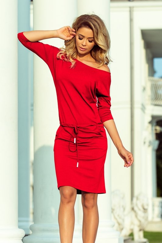 Sukienka sportowa z wiązaniem i kieszonkami - Czerwień