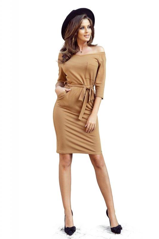 Sukienka z kieszonką - Karmelowa