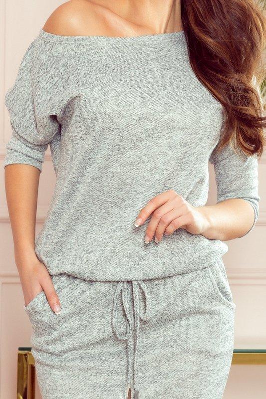 Sukienka sportowa ze sweterkowego materiału - Szary melanż