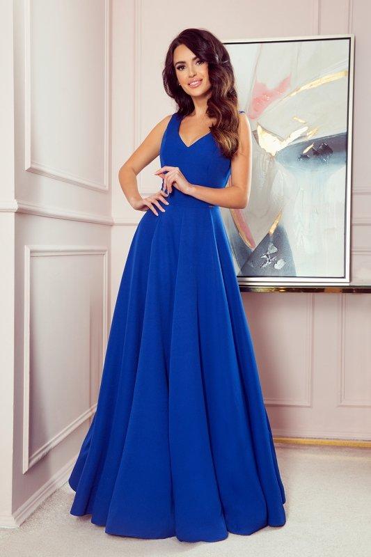 Długa suknia z dekoltem Cindy - Chabrowa