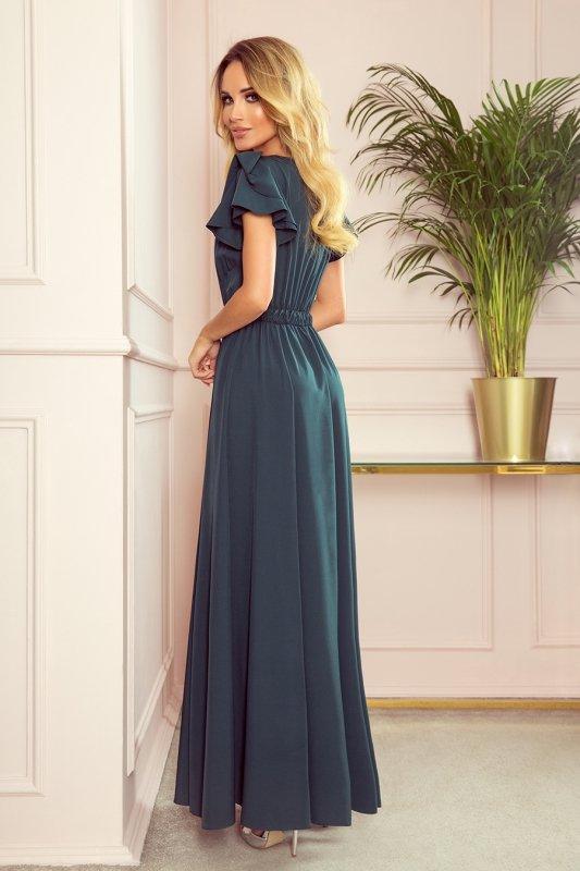 LIDIA długa sukienka z dekoltem i falbankami - BUTELKOWA ZIELEŃ -2