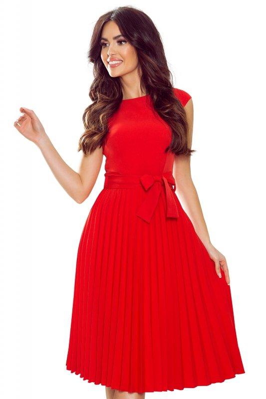 Plisowana sukienka z krótkim rękawkiem - CZERWONA