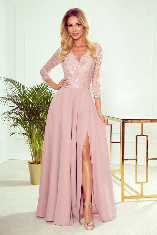 AMBER elegancka koronkowa długa suknia z dekoltem - PUDROWY RÓŻ