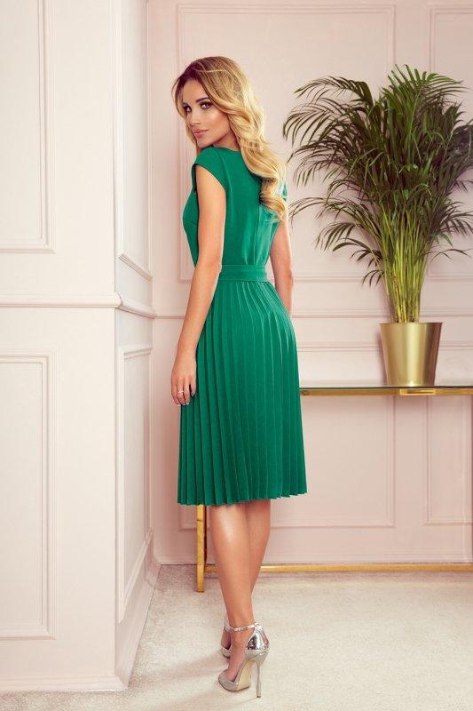LILA Plisowana sukienka z krótkim rękawkiem - ZIELEŃ BUTELKOWA
