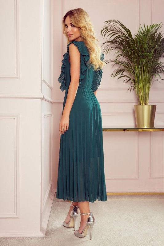 EMILY Plisowana sukienka z falbankami i dekoltem - BUTELKOWA ZIELEŃ -2