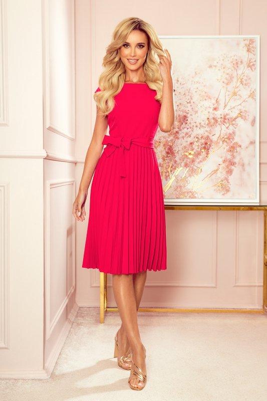 LILA Plisowana sukienka z krótkim rękawkiem - kolor MALINOWY -3