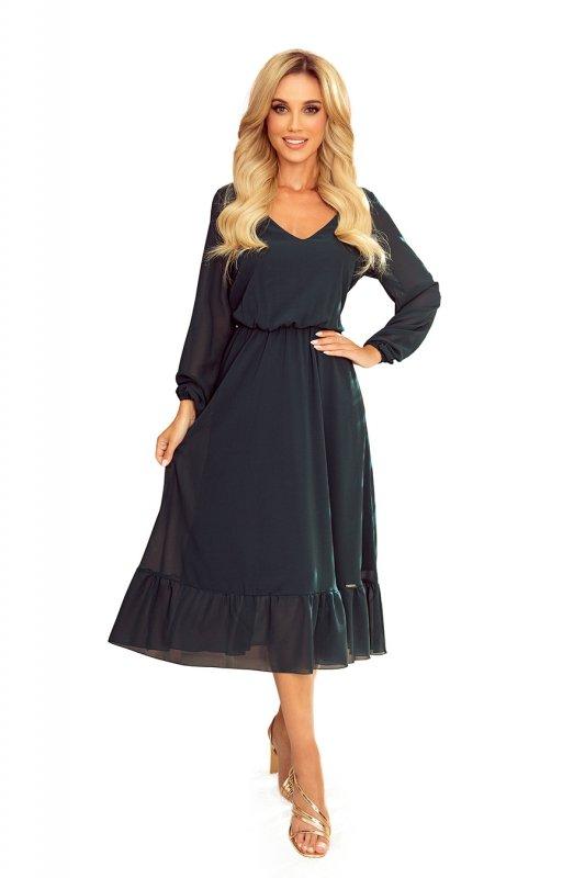 Szyfonowa sukienka midi z dekoltem i falbanką - zieleń butelkowa