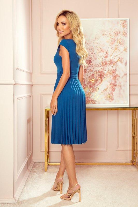 LILA Plisowana sukienka z krótkim rękawkiem - kolor Morski - 2