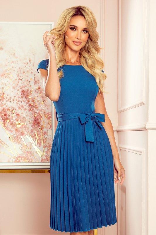LILA Plisowana sukienka z krótkim rękawkiem - kolor Morski - 3