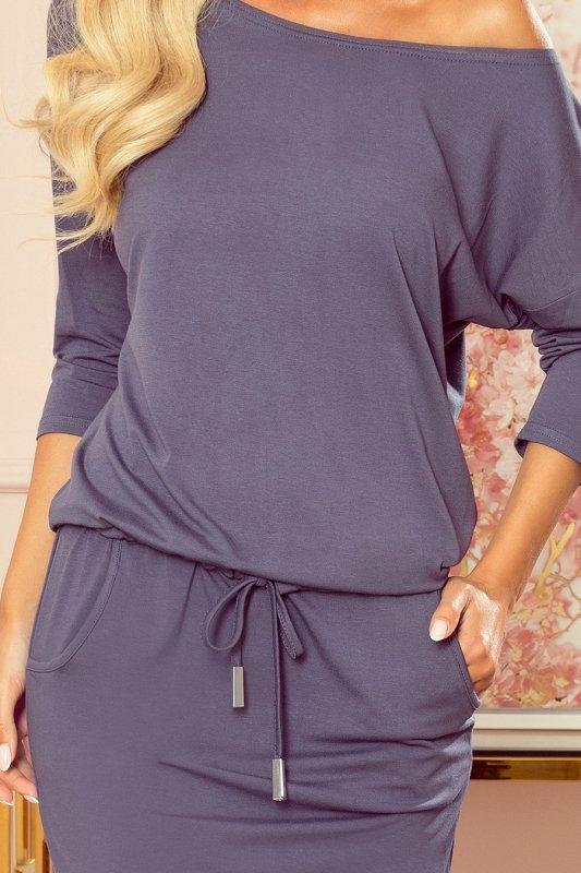 Sukienka sportowa z kieszonkami - kolor STALOWY -5