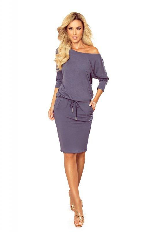 Sukienka sportowa z kieszonkami - kolor STALOWY -6