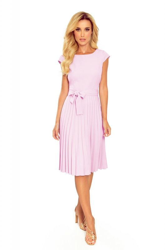 LILA Plisowana sukienka z krótkim rękawkiem - WRZOS
