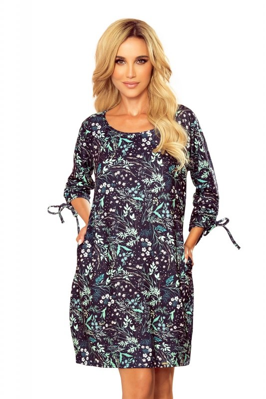 SOPHIE Wygodna sukienka Oversize - Miętowe liście na ciemnym tle - 7