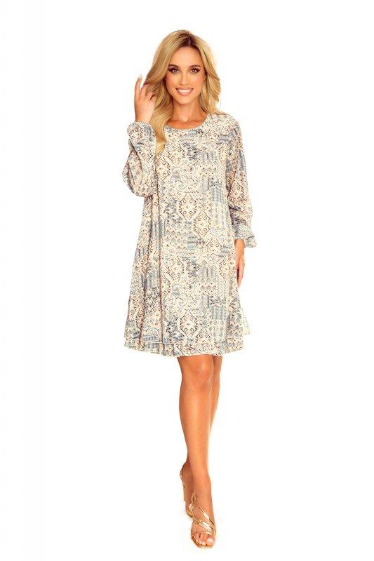 HANNAH szyfonowa sukienka z dekoltem na plecach - beżowo-niebieska-8