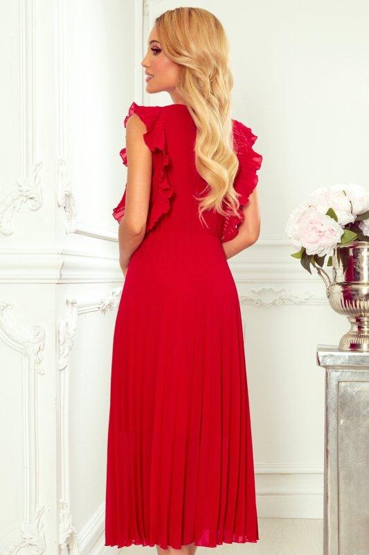 EMILY Plisowana sukienka z falbankami i dekoltem - CZERWONA -4