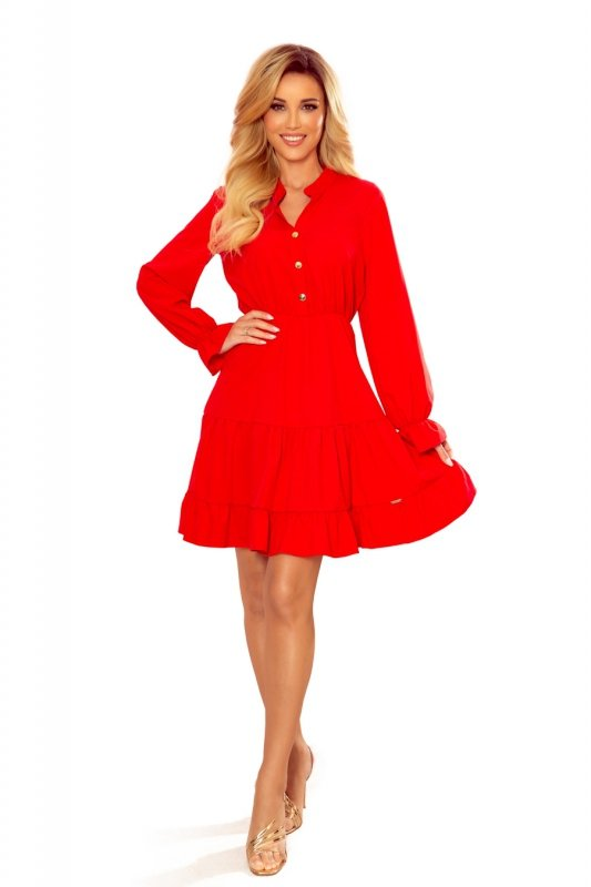 Sukienka z falbankami i złotymi guzikami - Czerwona - 6