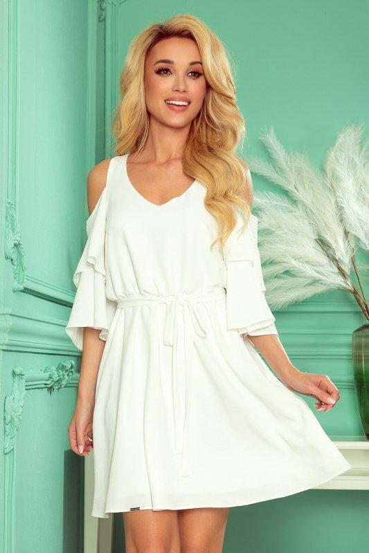 MARINA zwiewna sukienka z dekoltem - ECRU