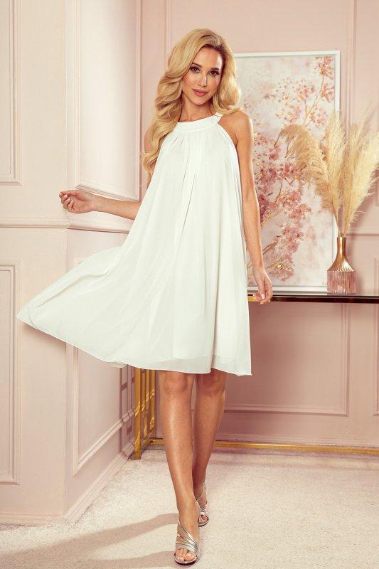 ALIZEE - szyfonowa sukienka z wiązaniem - ECRU - 5