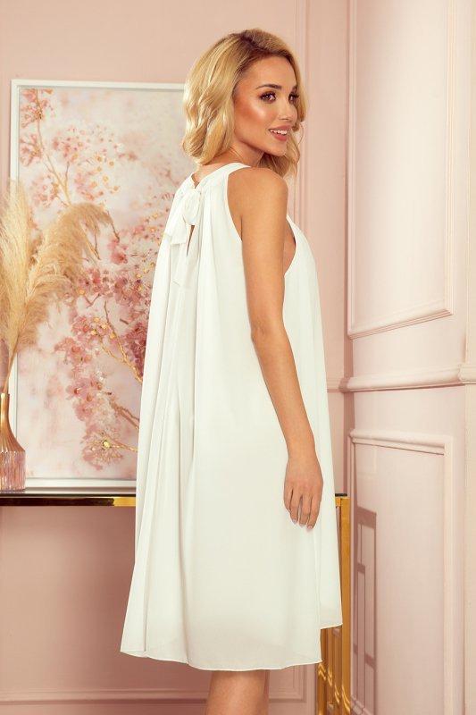 ALIZEE - szyfonowa sukienka z wiązaniem - ECRU - 6