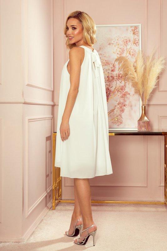 ALIZEE - szyfonowa sukienka z wiązaniem - ECRU - 8