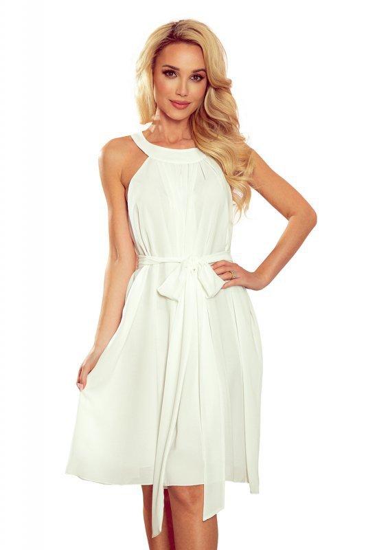 ALIZEE - szyfonowa sukienka z wiązaniem - ECRU - 10