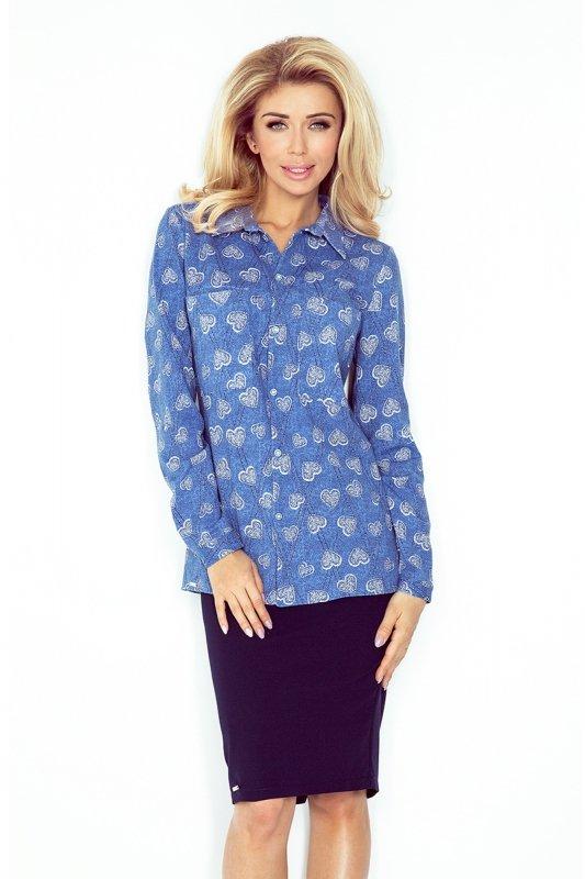 Koszula z kieszonkami Duże Serca  - Jeans - numoco MM 018-2