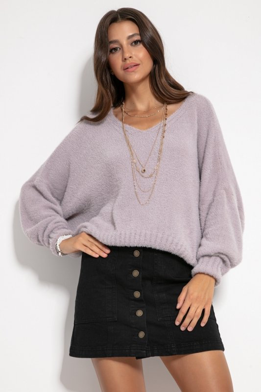 Luźny sweter z dekoltem F1066- fiolet -5