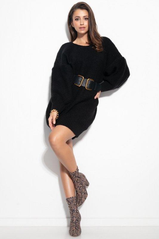 Dzianinowa sukienka-F1105-czarna-2