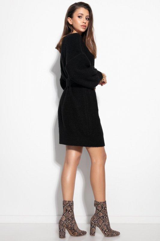 Dzianinowa sukienka-F1105-czarna-3